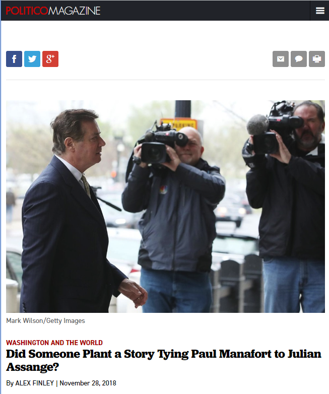 Politico: Did Someone Plant a Story Tying Paul Manafort to Julian Assange?