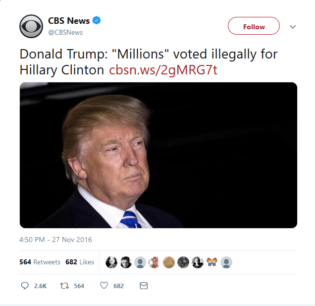 "CBS: Donald Trump: ""Millions"" voted illegally for Hillary Clinton"