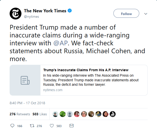 NYT: President Trump made a number of inaccurate claims during a wide-ranging interview with @AP