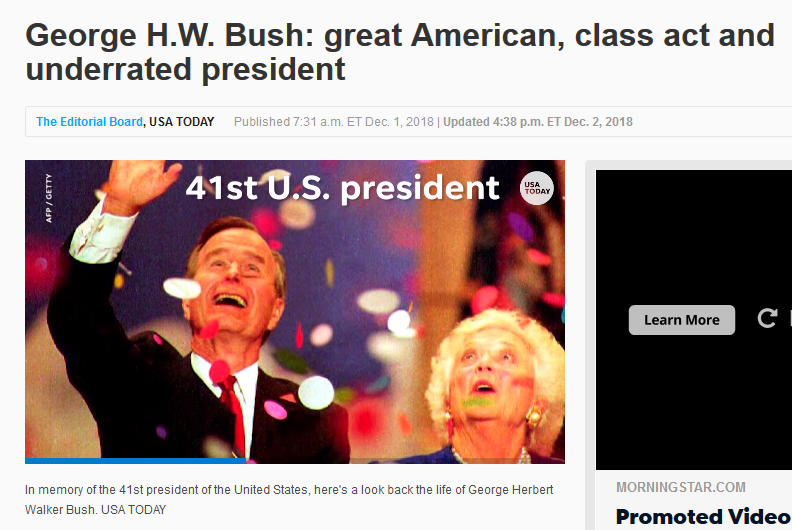 USA Today: George HW Bush: Great American, Class Act and Underrated President