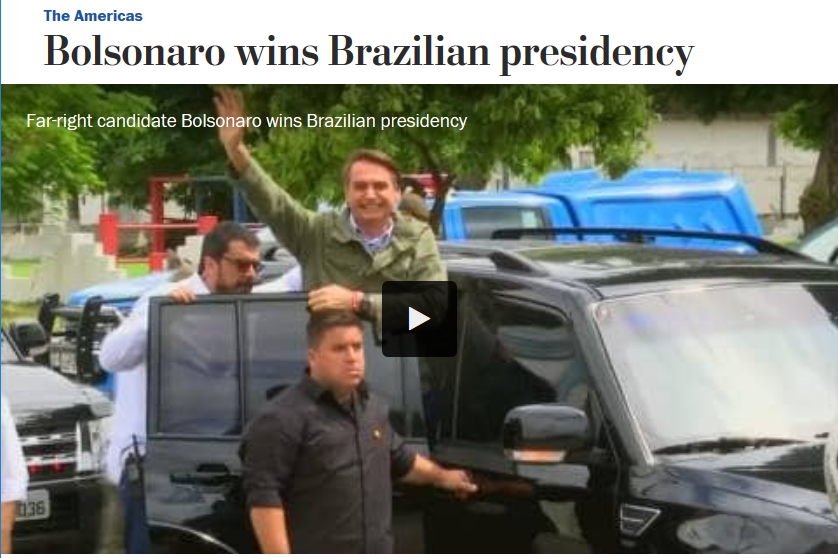 Washington Post: Bolsonaro wins Brazilian presidency