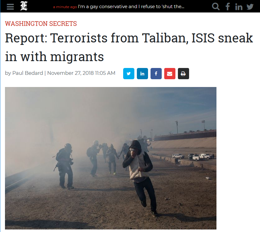 Washington Examiner: Report: Terrorists from Taliban, ISIS sneak in with migrants