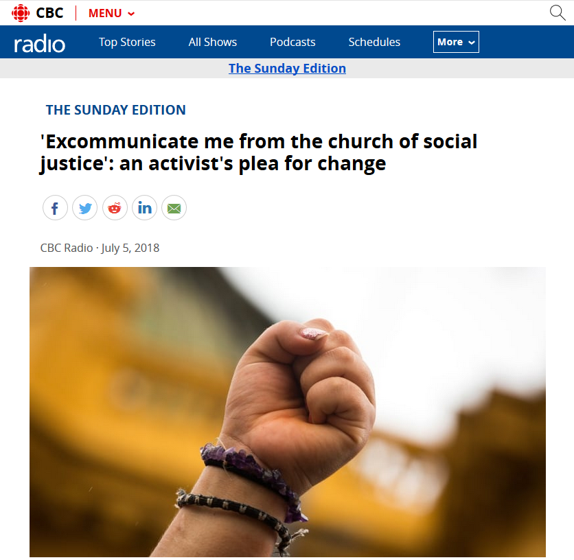 CBC: 'Excommunicate me from the church of social justice'
