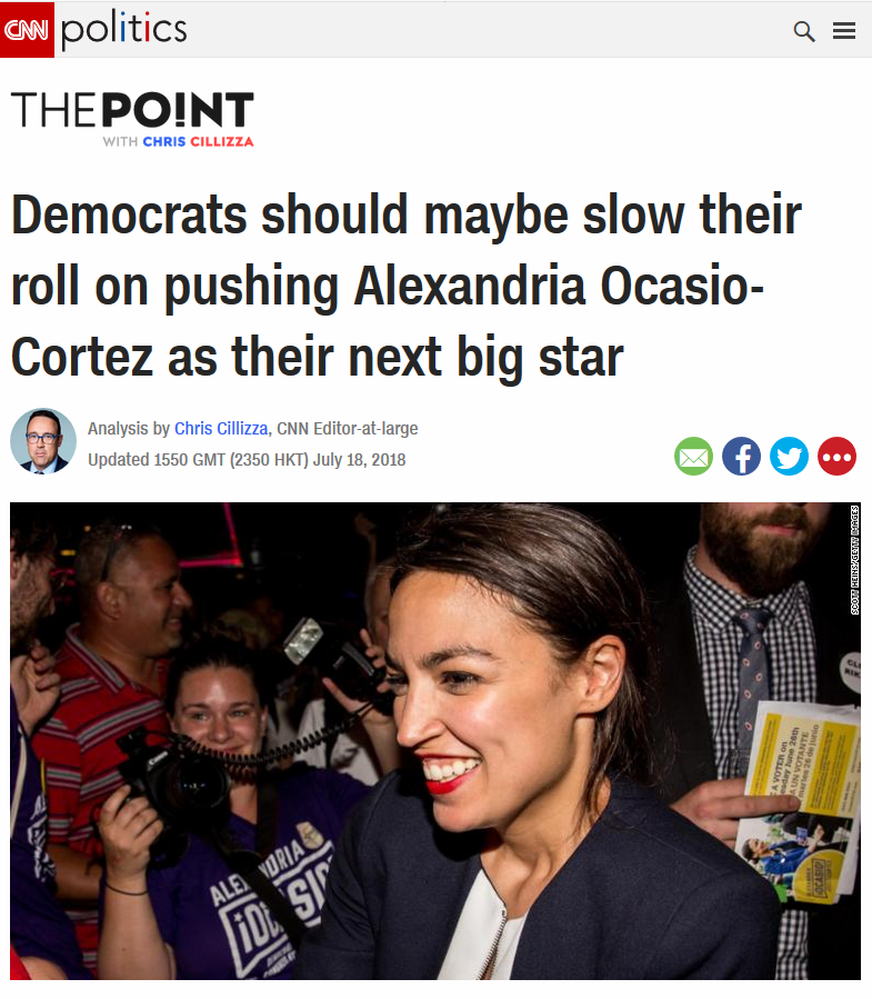CNN: Democrats should maybe slow their roll on pushing Alexandria Ocasio-Cortez as their next big star