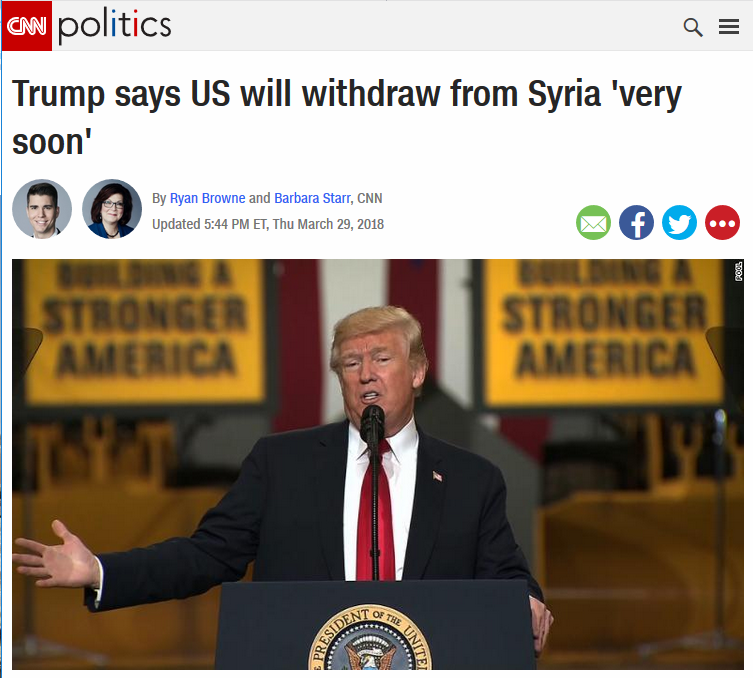 CNN: Trump says US will withdraw from Syria 'very soon'