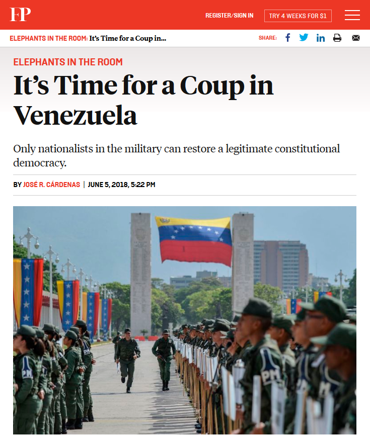 Foreign Policy: It's Time for a Coup in Venezuela