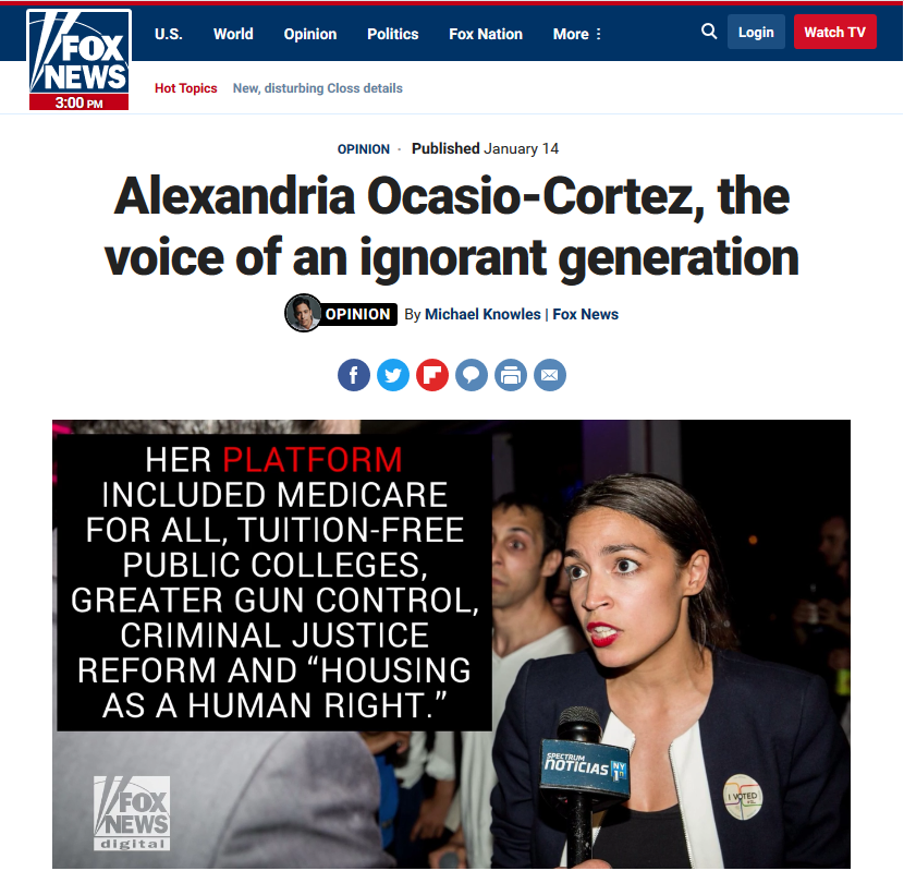 Fox News: Alexandria Ocasio-Cortez, the Voice of an Ignorant Generation