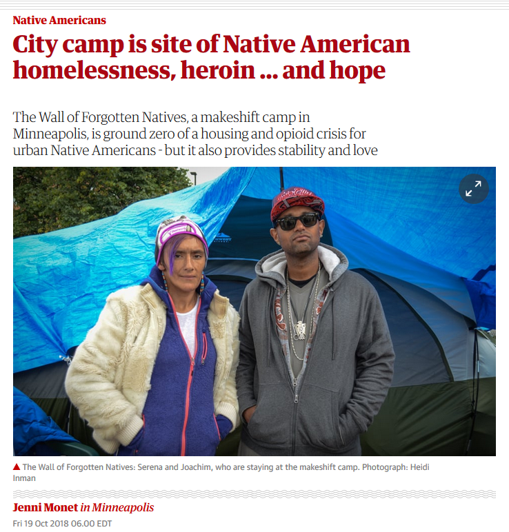 Guardian: City camp is site of Native American homelessness, heroin … and hope