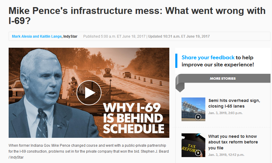 IndyStar: Mike Pence's Infrastructure Mess