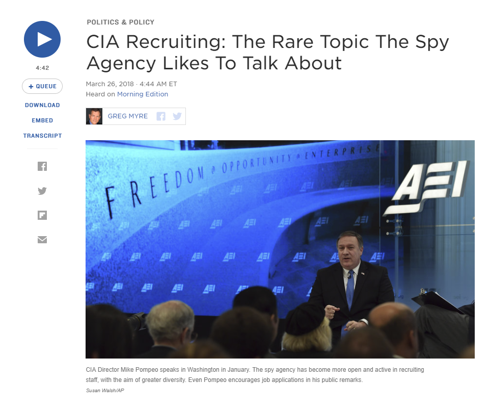 NPR: CIA Recruiting: The Rare Topic The Spy Agency Likes To Talk About