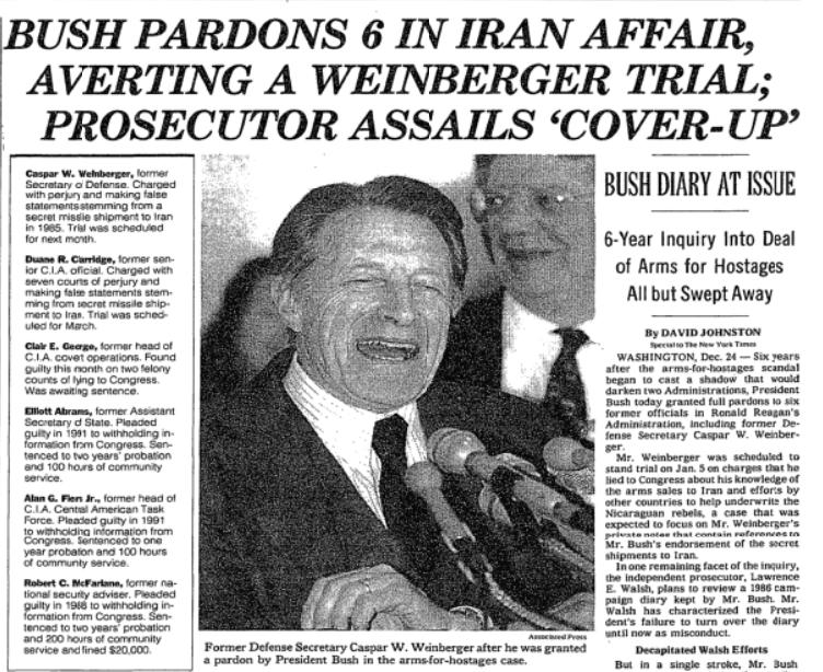NYT: Bush Pardons 6 in Iran Affair