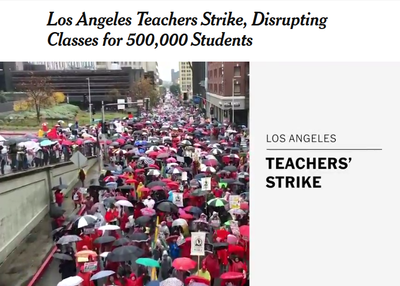 NYT: Los Angeles Teachers Strike, Disrupting Classes for 500,000 Students