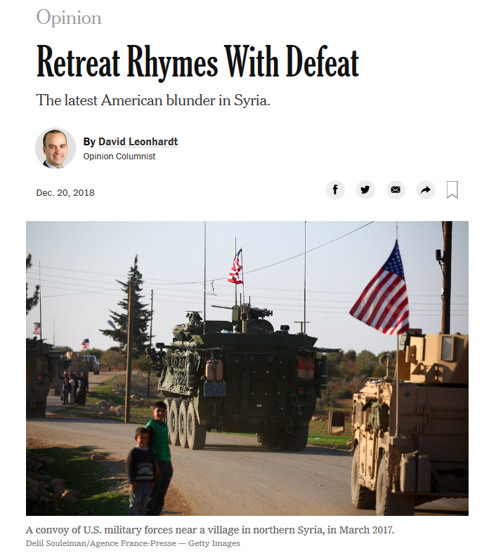 NYT: Retreat Rhymes With Defeat