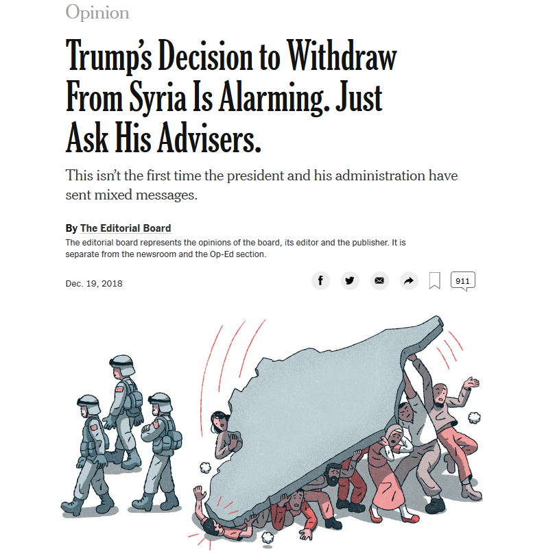 NYT: Trump's Decision to Withdraw From Syria Is Alarming. Just Ask His Advisers.