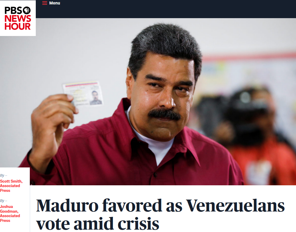 PBS NewsHour: Joshua Goodman, Associated Press Share on Facebook Share on Twitter Maduro favored as Venezuelans vote amid crisis