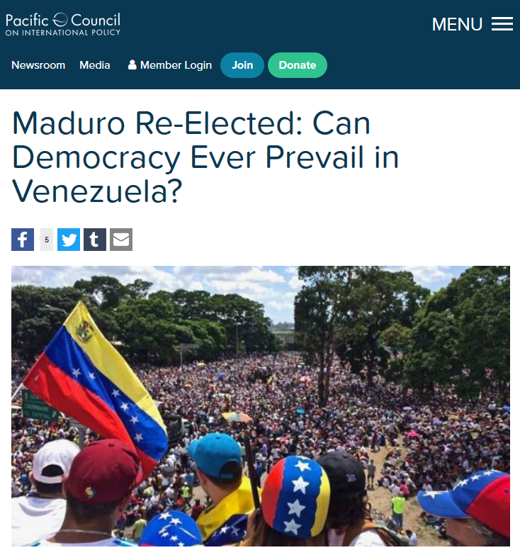 Pacific Council: Maduro Re-Elected: Can Democracy Ever Prevail in Venezuela?