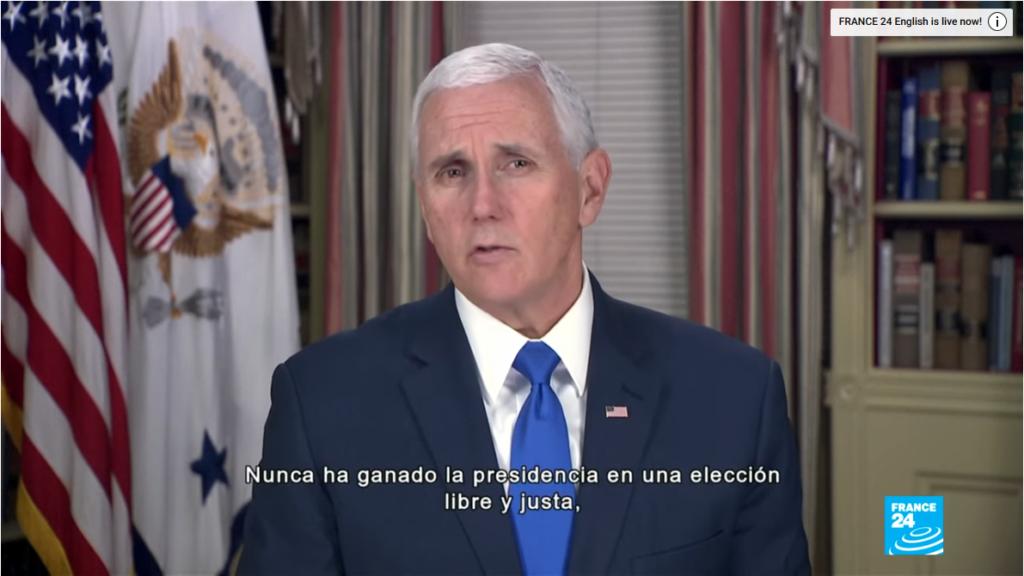 Mike Pence lies about Nicolas Maduro.