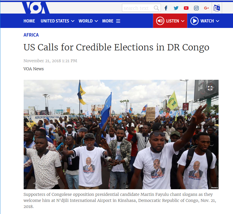 VOA: US Calls for Credible Elections in DR Congo