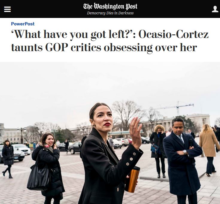 WaPo: 'What have you got left?': Ocasio-Cortez taunts GOP critics obsessing over her
