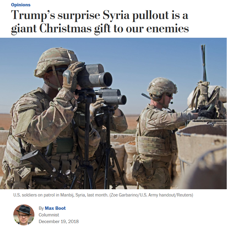 WaPo: Trump's surprise Syria pullout is a giant Christmas gift to our enemies