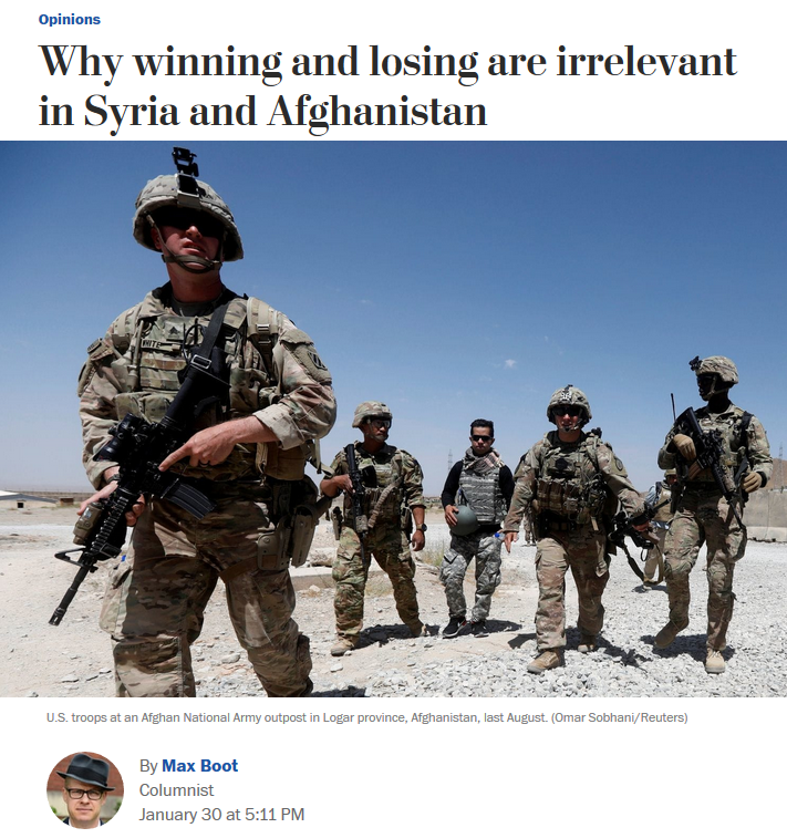 WaPo: Why winning and losing are irrelevant in Syria and Afghanistan