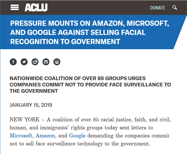 ACLU: Pressure Mounts on Amazon, Microsoft, and Google Against Selling Facial Recognition to Government