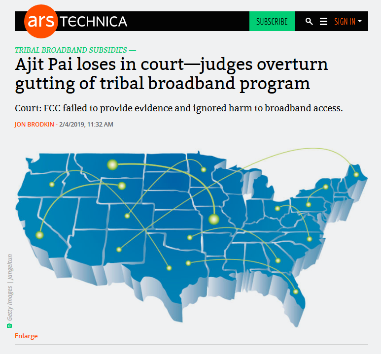 Ars Technica: Ajit Pai loses in court—judges overturn gutting of tribal broadband program