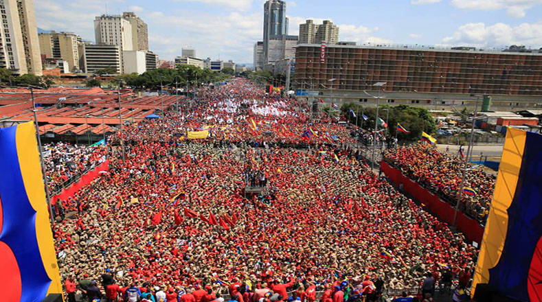 Crowd in support of the elected Venezuelan President Nicolas Maduro