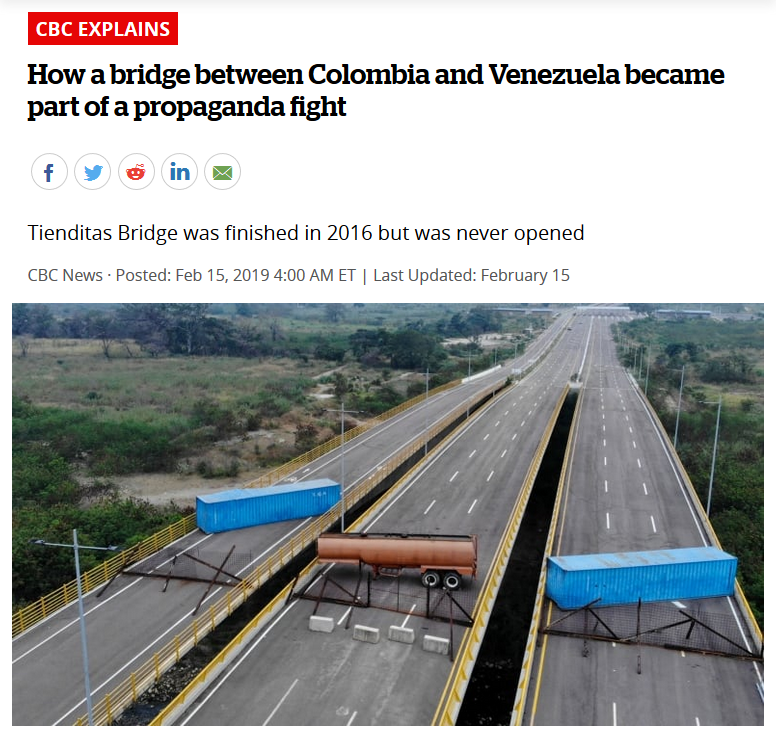 CBC: How a bridge between Colombia and Venezuela became part of a propaganda fight