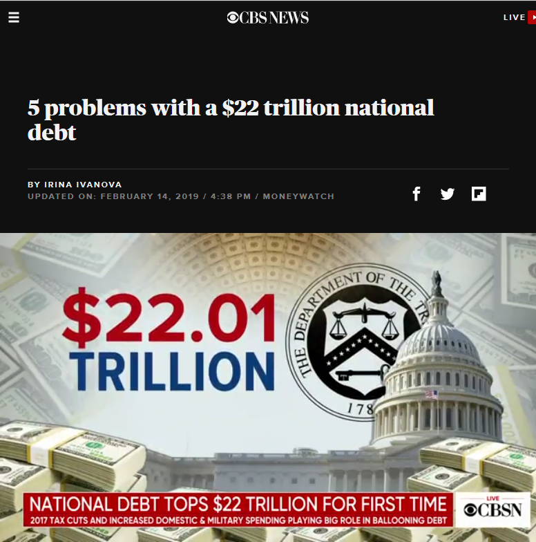 CBS: National Debt Tops 22 Trillion for First Time