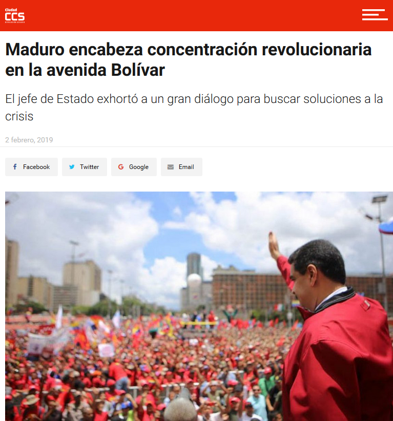 CCS Article on Maduro speaking to crowd