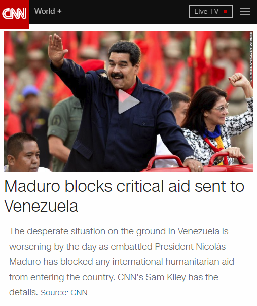 CNN: Maduro blocks critical aid sent to Venezuela
