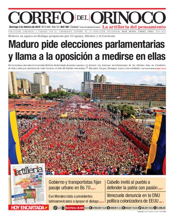 Correo del Orinoco front page