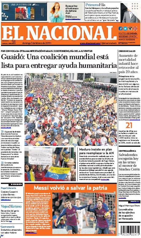 El Nacional Front Page