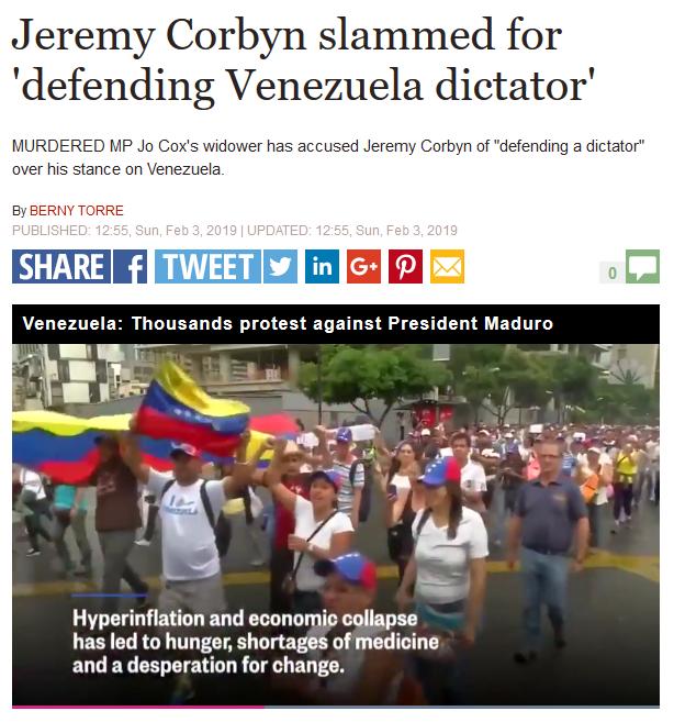 Express: Jeremy Corbyn slammed for 'defending Venezuela dictator'