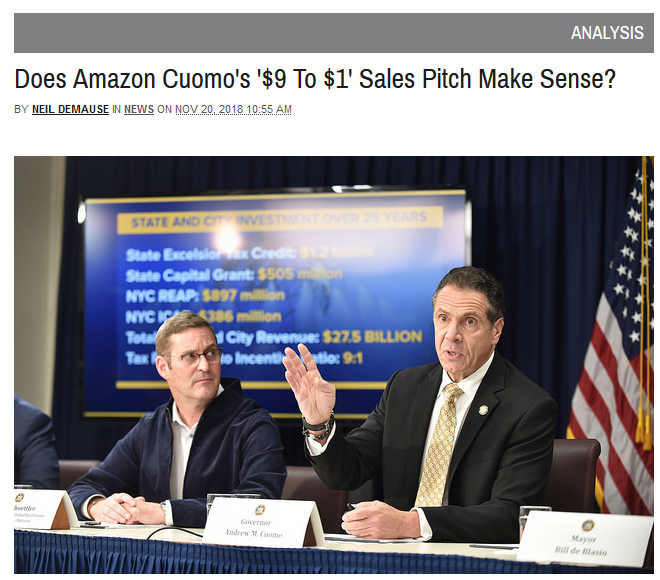 Gothamist: Does Amazon Cuomo's '$9 To $1' Sales Pitch Make Sense?
