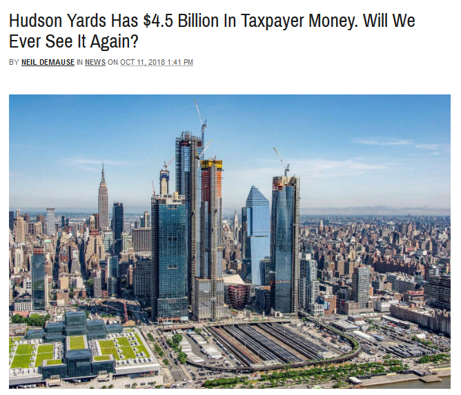 Gothamist: Hudson Yards Has $4.5 Billion In Taxpayer Money. Will We Ever See It Again?