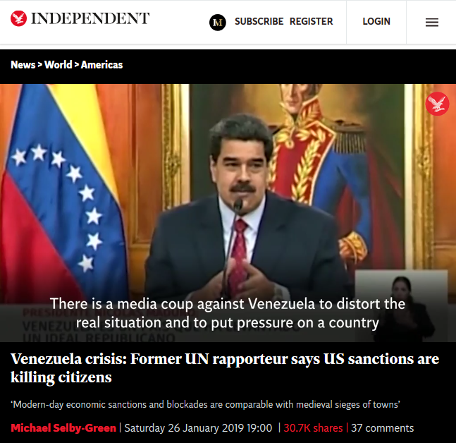 Independent: Venezuela crisis: Former UN rapporteur says US sanctions are killing citizens