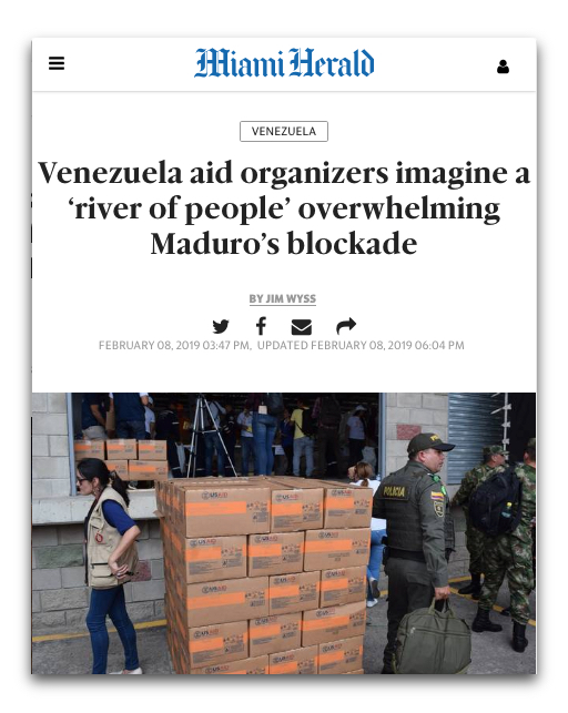 Miami Herald: Venezuela Aid Organizers Imagine a 'River of People' Overwhelming Maduro's Blockade