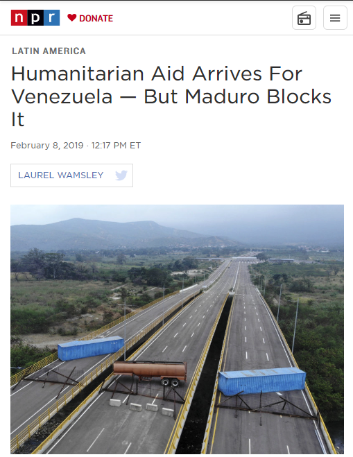 NPR: Humanitarian Aid Arrives For Venezuela — But Maduro Blocks It