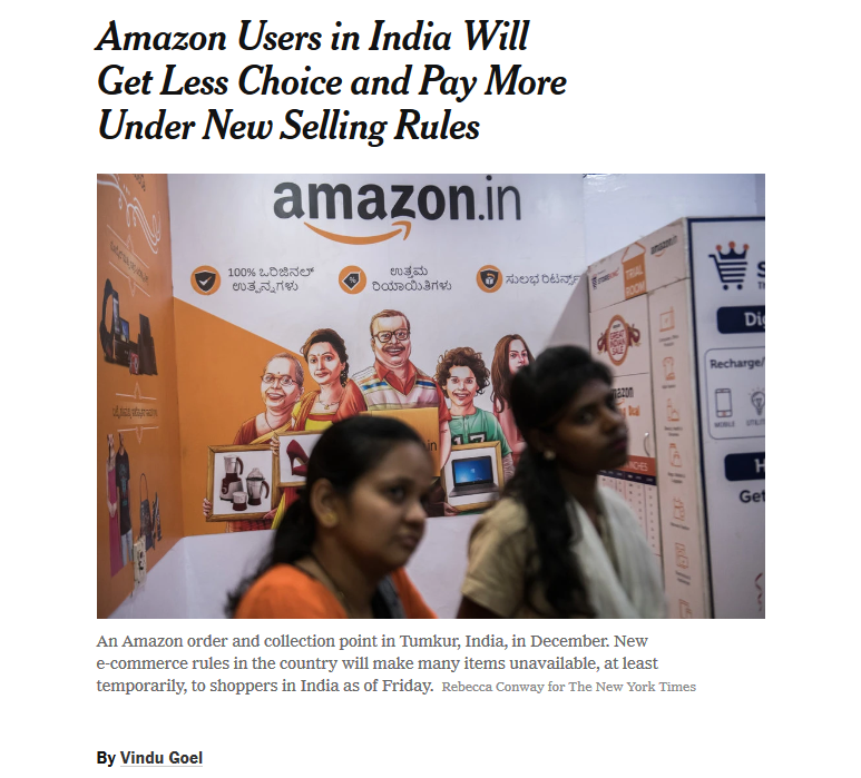 NYT: Amazon Users in India Will Get Less Choice and Pay More Under New Selling Rules