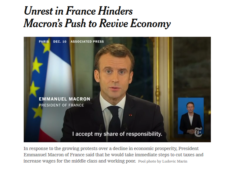NYT: Unrest in France Hinders Macron's Push to Revive Economy