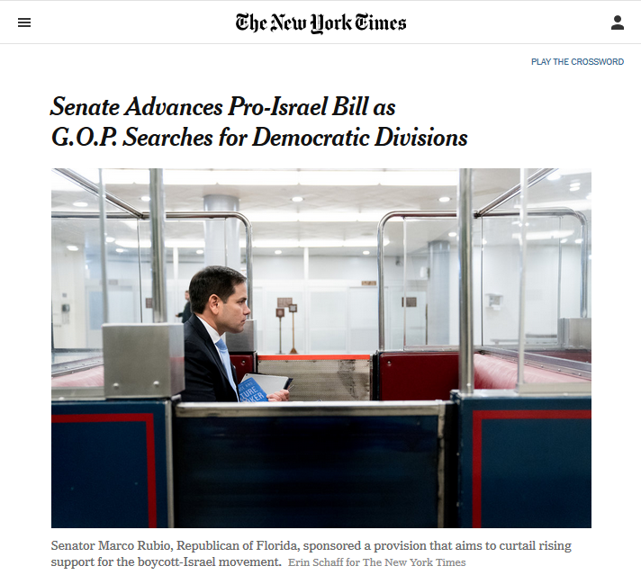 NYT: Senate Advances Pro-Israel Bill as G.O.P. Searches for Democratic Divisions