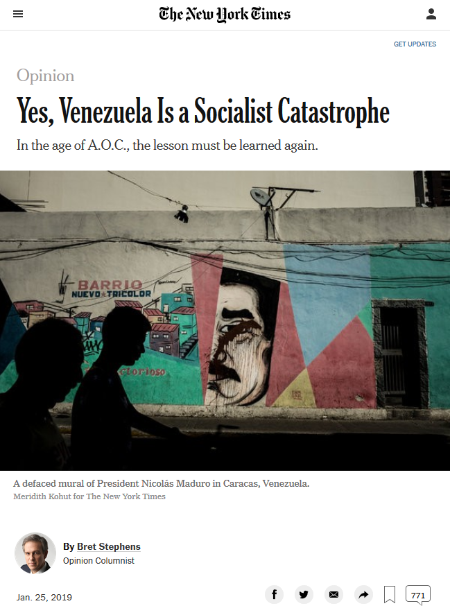 NYT: Yes, Venezuela Is a Socialist Catastrophe