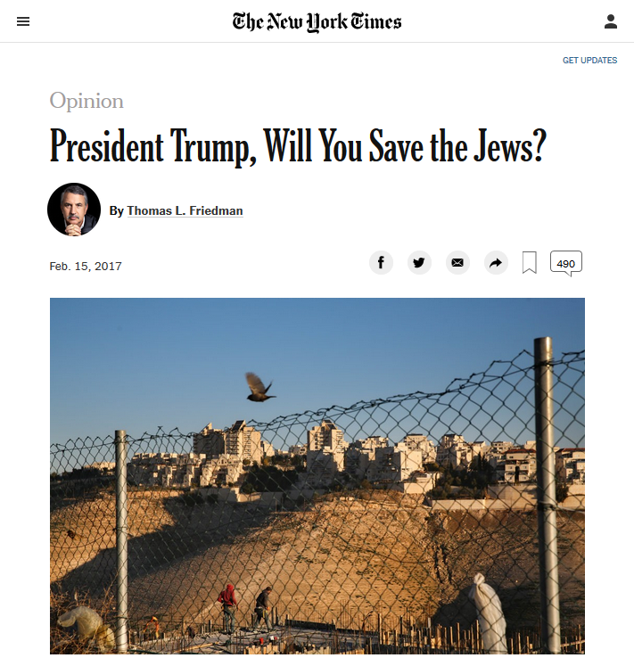 NYT: President Trump, Will You Save the Jews?