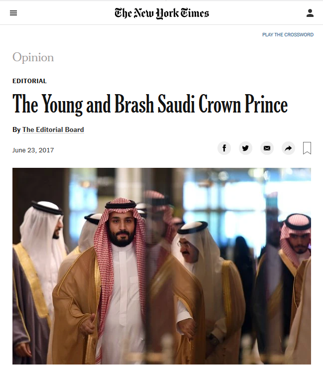 NYT: The Young and Brash Saudi Crown Prince