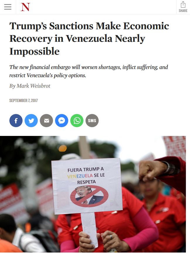 Nation: Trump's Sanctions Make Economic Recovery in Venezuela Nearly Impossible