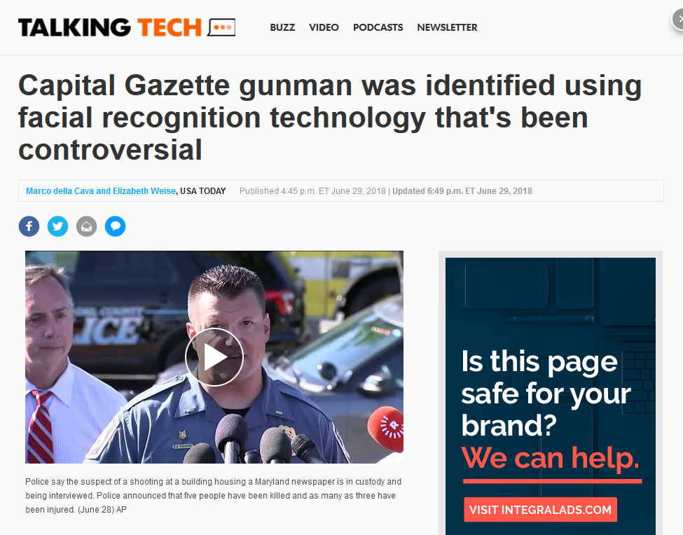 USA Today: Capital Gazette gunman was identified using facial recognition technology that's been controversial