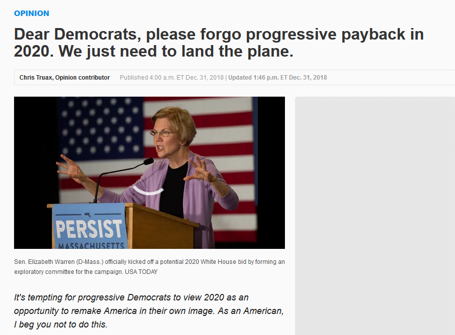 USA Today: Dear Democrats, please forgo progressive payback in 2020. We just need to land the plane.