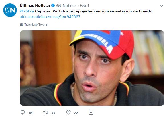 Ultimas Noticias: Capriles: Partidos no apoyaban autojuramentación de Guaidó